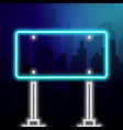 rectangular neon road sign on a background vector image