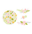 set of flower in pastel colors isolated vector image vector image