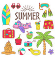 set of isolated summer icon part 2 vector image