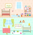 Set Playrooms for Kids Baby Rooms Interior vector image vector image
