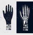 skeleton hands sign or logo on medical vector image vector image