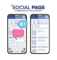 social page on smartphone speech bubbles vector image vector image