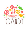Sweet candy logo colorful hand drawn label