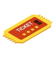 Ticket isometric 3d icon vector image vector image