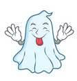 tongue out cute ghost character cartoon vector image