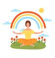 tranquil woman meditating in yoga lotus posture vector image vector image