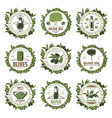vintage colored olive emblems set vector image