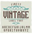 vintage label font vector image vector image