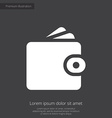 Wallet premium icon white on dark background vector image vector image