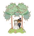 wedding couple cute cartoon vector image vector image