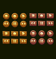 wooden audio buttons icons of vector image