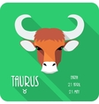 Zodiac sign Taurus icon flat design vector image vector image