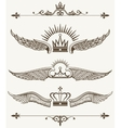 Set of royal winged crowns design elements vector image