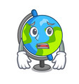 afraid globe mascot cartoon style vector image