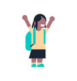 african american girl backpack raising hand up vector image vector image
