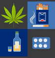 alcohol drugs and tobacco icons set vector image vector image