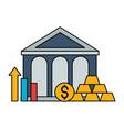 bank money gold bars chart stock market vector image vector image