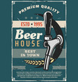beer house or craft brewery tradition retro poster vector image vector image