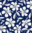 Blue and white tropical hibiscus flowers and vector image vector image