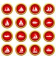 boat and ship icon red circle set vector image vector image