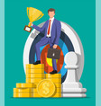 businessman with trophy dart target money vector image