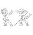 cartoon karate boy and ninja character set vector image