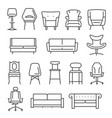 chair armchair sofa thin line icons set isolated vector image