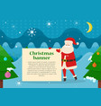 christmas banner in santas hand in forest at night vector image