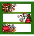Christmas banner set with xmas tree gift snowman vector image