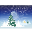 Christmas card with a house in the woods vector image vector image