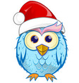 christmas owl cartoon isolated on white background vector image