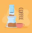 coffee brewing methods aeropress and cup vector image vector image