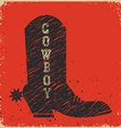 Cowboy boot background red card vector image