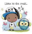 cute cartoon boy and owl vector image vector image