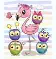cute cartoon flamingo and five owls vector image vector image