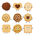 cute cartoon funny cookies bakery characters vector image vector image