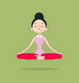 cute girl in lotus position cartoon vector image
