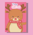 cute reindeer with scarf merry christmas vector image