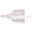 developer word cloud concept vector image vector image