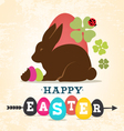 Easter Greeting Card with Rabbit vector image vector image