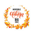 fall leaves wreath vector image vector image