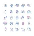 family and children thin line icons set vector image vector image