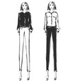 fashion models sketch vector image vector image