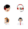flat icon call set of telemarketing operator vector image vector image