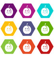 fresh smiling apricot icon set color hexahedron vector image vector image