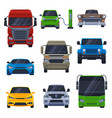 front view various vehicles collection car vector image vector image