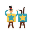 funny magician sawn into two parts circus vector image vector image