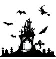 halloween party castle bats and cemetery vector image vector image