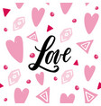 handwritten love word on abstrackt background vector image
