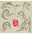 Horses symbols collection Chinese zodiac 2014 vector image vector image